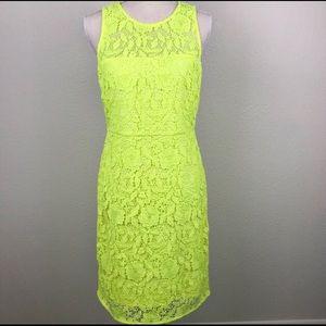 J. Crew Lace Sheath Dress Bright Yellow